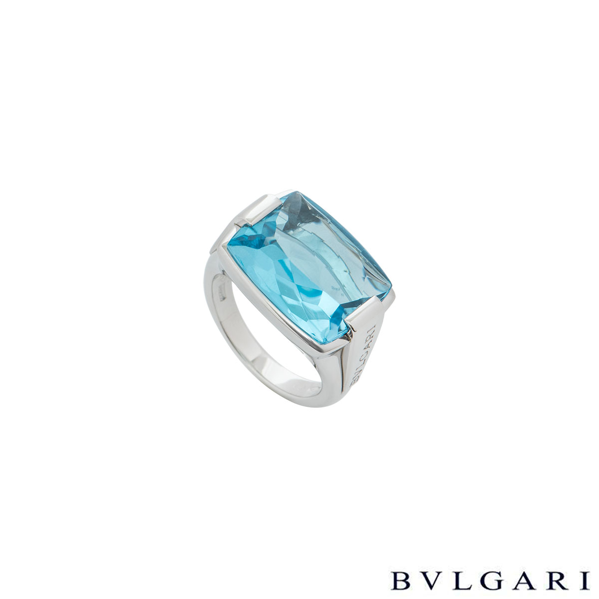 Bvlgari White Gold Blue Topaz Cocktail Ring